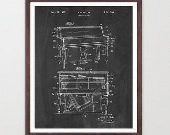 Piano Poster - Piano Art Print - Piano Design - Music Poster - Music Art Print - Music Poster - Patent Print - Patent Poster - Upright Piano
