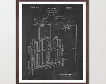 Test Tubes - Test Tube Poster - Science - Science Art - Science Poster - Science Patent - Scientist - Microscope Art