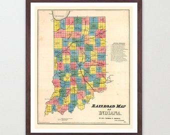 Indiana Map - Indiana  Art - Indiana Poster - Indiana Decor - Indiana Wall Art - Indianapolis - Vintage Map - Map Art - IN - Indiana Print