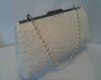 Ivory white lace summer Wedding evening prom clutch purse BBsCustomClutches