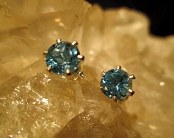 Blue Topaz Post Earrings ~Sterling Silver~ Nice 6 mm Swiss Blue Gems