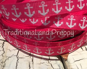 "3 yards 3/8"" Preppy White glitter Anchor on HOT PINK Nautical Grosgrain Ribbon"