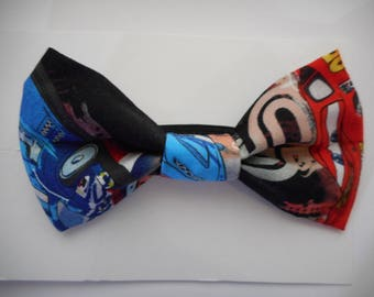 Cars  Print Black Fabric Toddler Bow Tie
