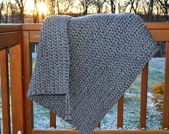 FREE SHIPPING-Crochet Blanket-Ultra Soft- Gray, Super Bulky Mega Tweed Yarn, Very Soft, Made with Two Strands For an Extra Thick Blanket