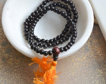 5mm Rosewood Beads Mala, Tibetan Buddhist Rosewood Beads, 5mm Rosewood Beads, 108 Wood Mala Beads, 5mm Dark Brown Wood Beads, LUM17-0121A