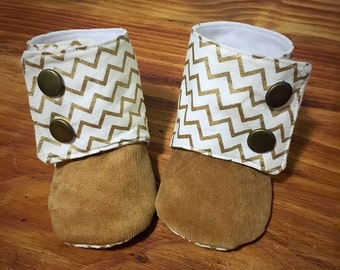 Gold chevron booties size 3/6 months