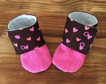Love Heart booties size 3/6 months