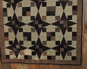 "Lap Sized Quilt in all Blacks, Browns, Tans and Creams   42"" x 42"""