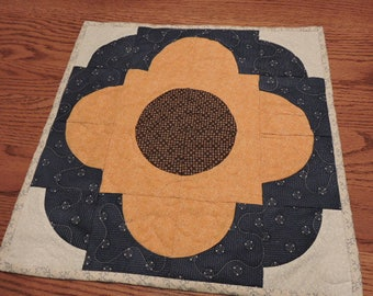 "Small Quilt /Table Topper  or Large Candle Mat in Golden Yellow, Blue and Cream   15.5"" x 15.5"""