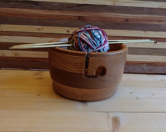 Wood Yarn Bowl Handcrafted from Honey Oak - 16HOYB014