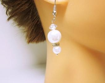 White Pearl Bridal Earring