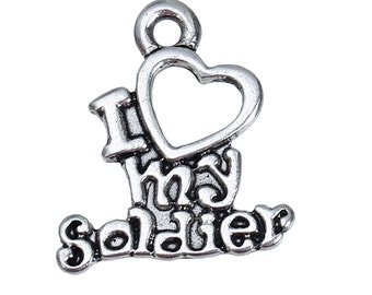 4 I Love My Soldier Charms I Heart My Soldier Pendants Patriotic Military Charms 4442
