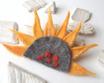 brooch felt brooch sun sunflower