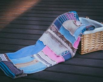 Picnic blanket, Blanket throw boho, Summer blanket, Picnic blanket blue, Upcycled blanket, Patchwork blanket, Eco blanket, Bohemian blanket