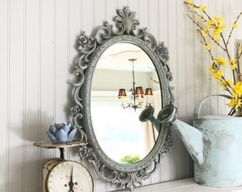 French Blue Shabby Chic Nursery Mirror Distressed Oval Vanity Mirror Decorative Girls Room Vintage Painted Wall Mirror