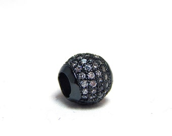 1 - 8mm Black Micro Pave Bead, Black Slider Beads, Pave Slider Beads, CZ Micro Pave, Black Pave Bead, Large Hole Bead, Black CZ Pave, T-104E