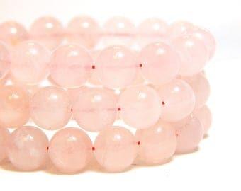 8mm Rose Quartz, 8mm Pink Beads, Pink Gemstones, Rose Quartz, Round Gemstone Beads, Light Pink Beads, Pink Quartz, Natural Beads, B-15E