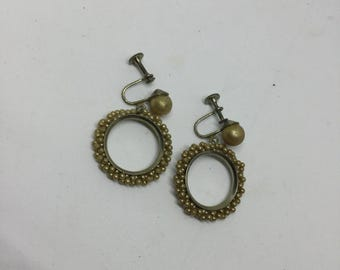 Vintage dangle cluster pearl earrings