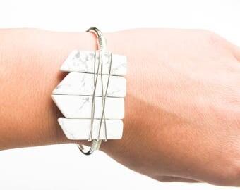 Silver Cuff Bracelet with natural Howlite Stones/Chic bangle/non tarnish