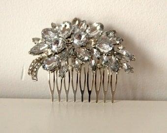 Rhinestone Bridal Comb Large Crystal Bridal Art Deco Hair Comb, Great Gatsby, Hairpiece, Bridal Hair Accessory, Crystal Headpiece