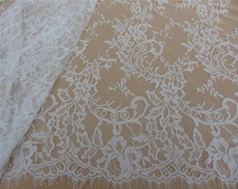 Chantilly Eyelash Lace Trim, Chantilly Lace Fabric, 59 inches Wide for Veil, Dress, Costume, rose lace Craft Making, 3 Meter/piece