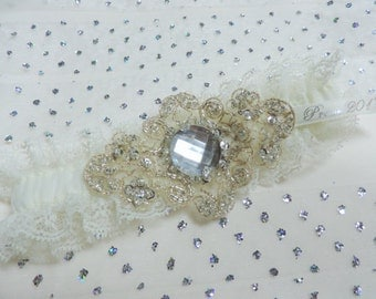Prom garter, Ivory and Champagne prom garter, Bridal garter, Wedding garter