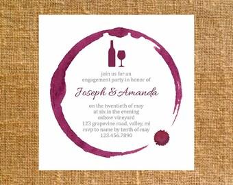 Customized Square Wine Ring Invite - Digital File