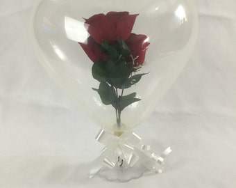 Heart Shaped Balloon Gift with Flowers Inside
