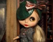 OOAK Handmade Blythe hat with big tie.
