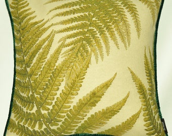 """McAlister Woodland Nature Print Tapestry 17"""" 43cm Filled Cushions & Covers w/ Emerald Green Velvet Back + Piping - Green Forest Ferns"""