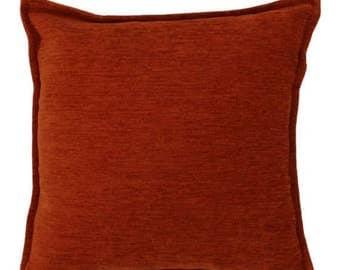McAlister Textiles Plain Chenille Solid Piped Cushions, Pillows & Covers - 43cm, 49cm, 60cm, 40cm, 50cm w/ Fillers - Terracotta Orange