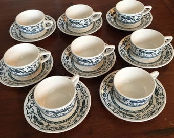 Vintage Cavalier Ironstone, Blue Onion Pattern, Royal China, USA. Eight (8) Cups and Eight (8) Saucers.