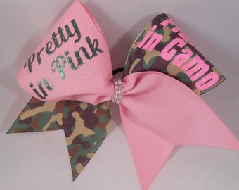 Cheer Bow  Pretty in Pink FIERCE in Camo Camoflage Sequin by BlingItOnCheerBowz