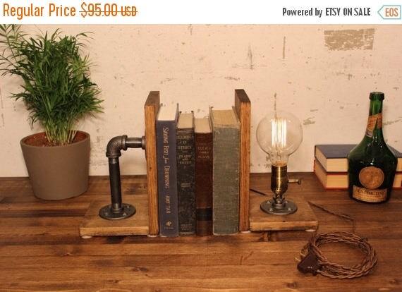 25% OFF SALE Dimming lamp Industrial Lighting - Booklamp Lamp - Table Lamp - Edison Light - Vintage Light - Pipe Lamp - Bedside Lamp - Rusti