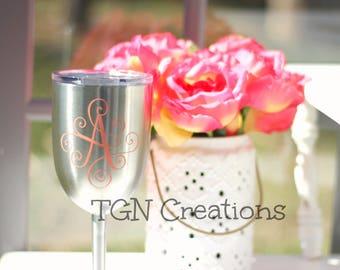 True North Wine Glass, Personalized Wine Glass, Monogram Wine Tumbler, Monogram Wine, Stainless Steel Wine Glass, Insulated Wine Tumbler