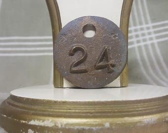 Vintage Double-Sided Heavy Brass Cattle/Livestock Tag 24. Raised Numbers. Patina.