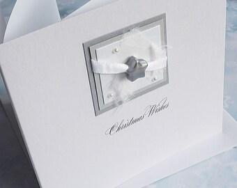 Handmade Christmas Card for Dad, Husband, Son, Grandad, Wife 'Silver Night'