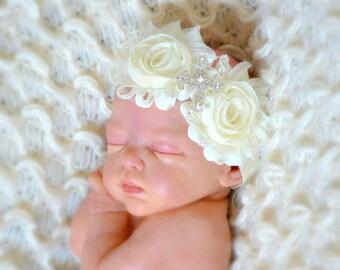 Ivory Baptism Headband | Ivory Dedication Headband | Ivory Cross Headband | Ivory Bautizo Headband