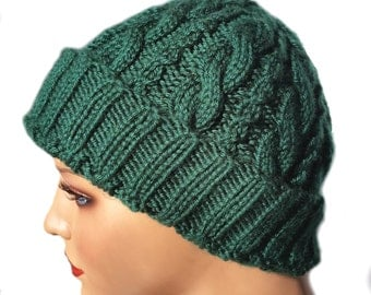 Cable Knit Hat - Cabled Knit Hat - Wool Cable Hat - Acrylic Cable Hat - Chemo Hat - Hand-Knit Hat - Cables -Warm Winter Hat