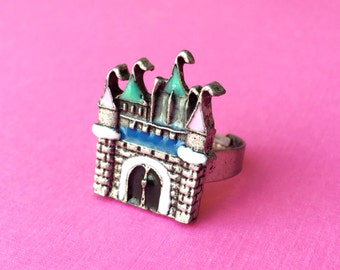 "Femme Fairy Tale & Fantasy Collection ""Pastel Castle"" Disney Castle Inspired Silver and Enamel Adjustable Ring"