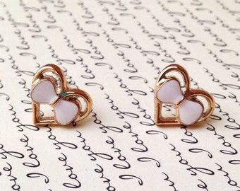 """Handmade """"Lady Coeur"""" Upcycled Gold Heart Earrings with White Bow - Vintage Inspired"""