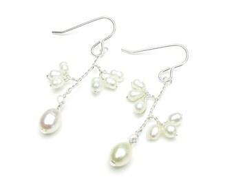Wedding earrings freshwater pearl flowers and pearl drop, sterling silver ear hooks, bridal freshwater pearl drop flower earrings, Elodie
