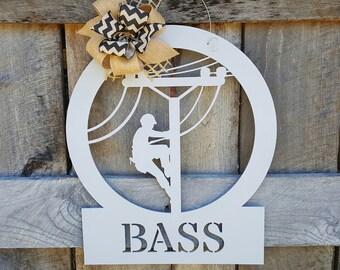 Lineman Wooden Sign - Lineman Door Hanger - Lineman Gift - Wedding Gift - Housewarming Gift - Personalized Gift