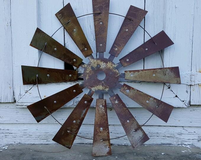 Metal Windmill Wall Decor - Rustic Farmhouse Decor - Windmill Blades