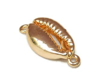 Gold Plated Cowrie Shell - Natural Sea Shell -Cowrie Shell Connector - Money Shell - Shell Bead - Gold Plated - Seashell.  20-25mm