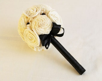 Bridal Bouquet or Bridesmaid bouquet , Wedding Cream /black   Bouquet, Sola flowers