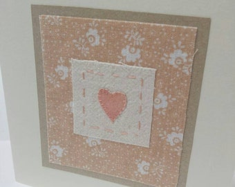 Hand stitched and hand painted textile art 'heart' fabric  card with vintage Laura Ashley fabric