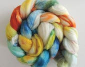 Merino Nylon,Pazific Blues, handbemalte Fasern zum Spinnen,100g superwash Kammzug