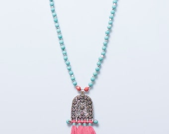 Large beaded and tassled necklace with silver Indian amulet