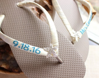 LIGHT BROWN And IVORY Wedding Sandals Starfish Flip Flops Shoes For Bride